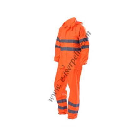 Αδιάβροχη στολή πορτοκαλί με ανακλαστικές ταινίες