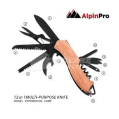 Πολυεργαλείο Σουγιάς με Ξύλινη Λαβή 12 σε 1 AlpinPro MΚ-009HW