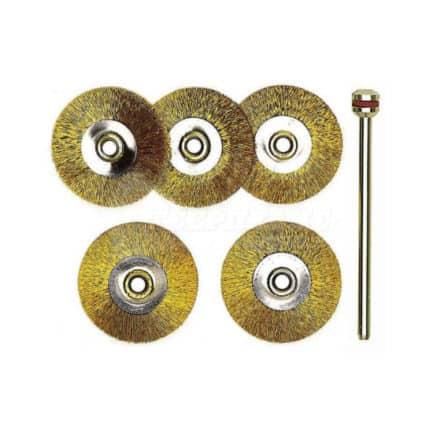 PROXXON MICROMOT 28962 - Συρματόβουρτσα Δισκοειδής Ορειχάλκινη Μοντελισμού Σετ 5 τμχ