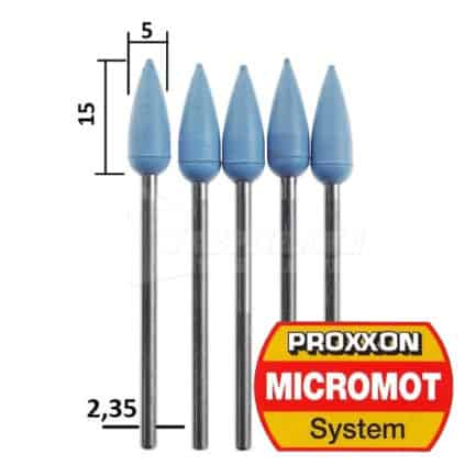 PROXXON MICROMOT 28288 - Μύτες Στίλβωσης Σιλικόνης Κωνικές Μοντελισμού Σετ 5 τμχ