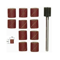 Proxxon 28980 Γυαλόχαρτα Κυλινδρικά 10 mm Κ150 με Βάση Σετ 10 τμχ