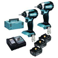MAKITA DLX2236ΤJ1 Combo Kit 2 x Παλμικό Κατσαβίδι DTD153 + 3 Μπαταρίες 18V / 5.0Ah + Φορτιστής + Βαλίτσα