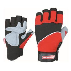 BENMAN Γάντια με Κομμένα Άκρα Δερμάτινα και Ενίσχυση