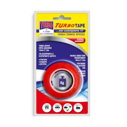 TURBO-Tape 11906 Ταινία Διπλής Όψης Διαφανής 19mm x 1,5m