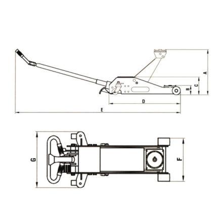 EXPRESS 60608 Γρύλος Καροτσιού Χαμηλού Προφίλ(89mm) 2 Τόνων Με Περιστρεφόμενη Λαβή